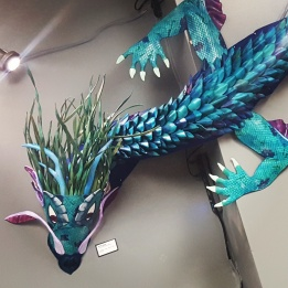 Ahdragha is a 13 foot long leather and cloth sculpture. Truly one of a kind, but similar pieces can be made. $8500 for this stunning dragon.