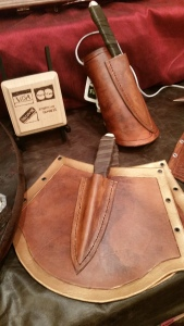 Wood knives in leather bracer cuffs - a great costume piece! $60 each or $100 for a pair.