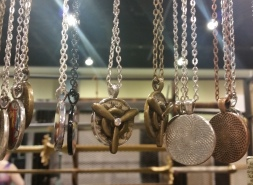 Fun and easy gifts - these steampunk gear, propeller, and old book necklaces are still popular.